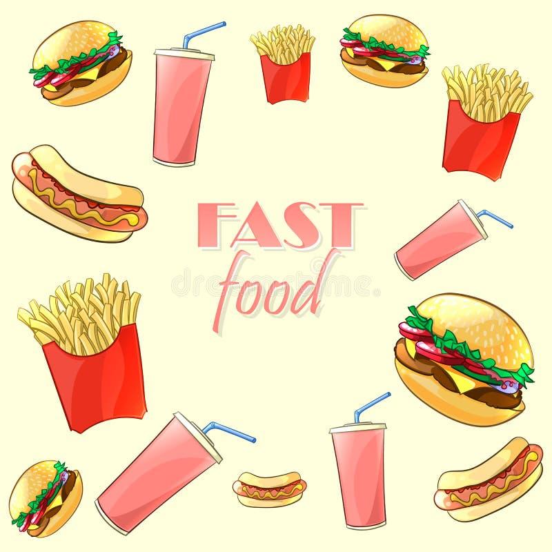 Kleurrijk snel voedselpatroon Vector illustratie stock illustratie