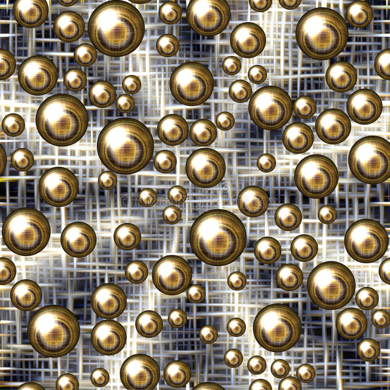 Kleurrijk spel van tinten en gouden bellen, achtergrond royalty-vrije illustratie
