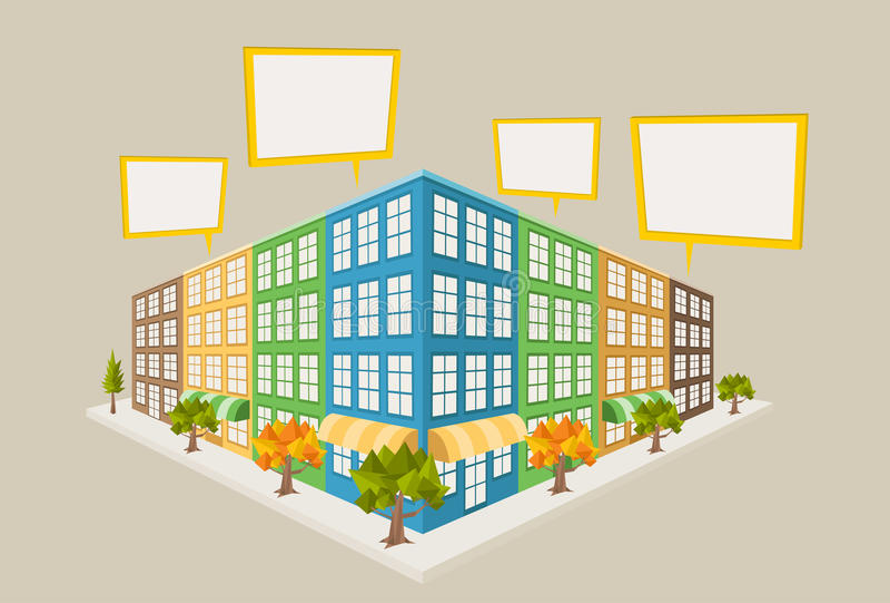 Download Kleurrijk stadsblok vector illustratie. Illustratie bestaande uit bezit - 54085609