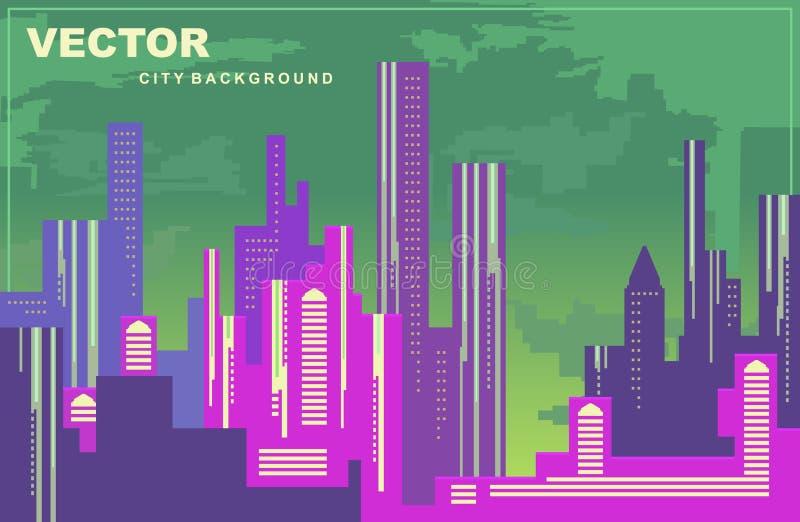 Kleurrijk stadspanorama Silhouetten van gebouwen, cityscape bij nacht, vectorachtergrond Lange gebouwen, torens, wolkenkrabbers stock illustratie
