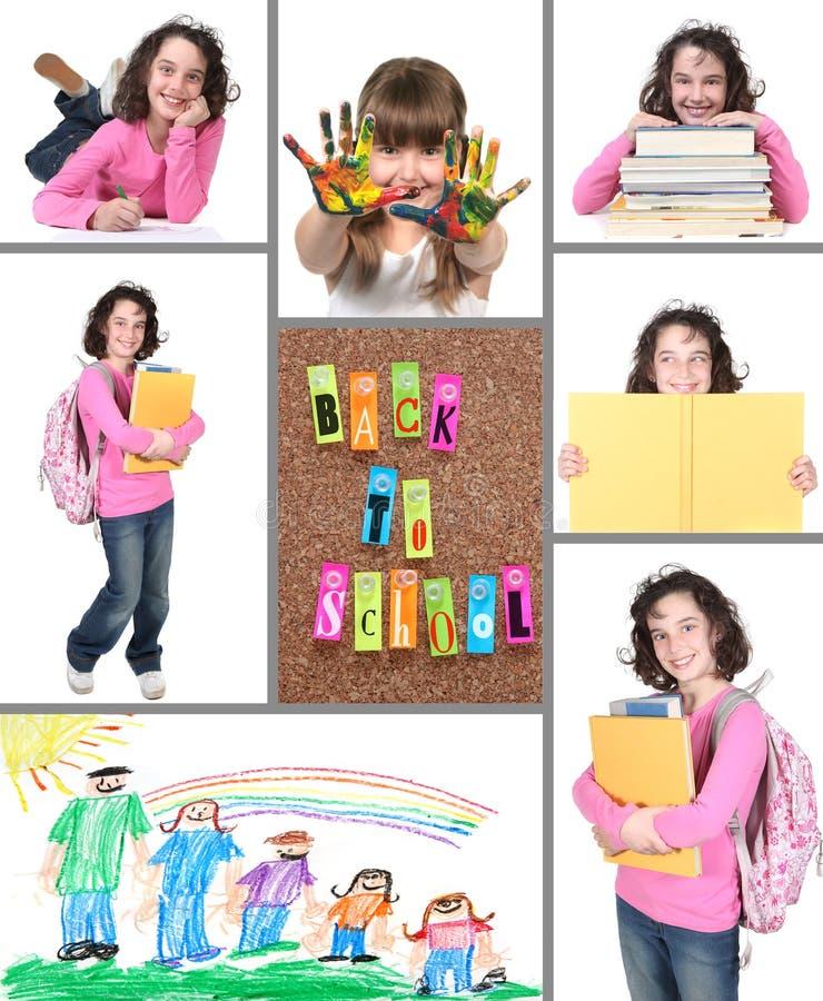 Kleurrijk terug naar de Collage van de School stock afbeeldingen