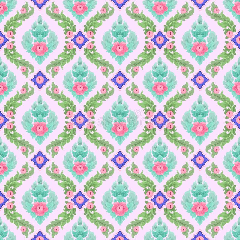 Kleurrijk Thais kunst naadloos patroon vector illustratie