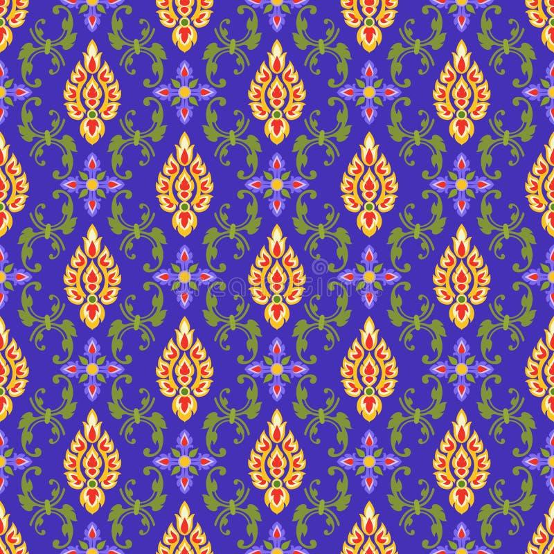 Kleurrijk Thais kunst naadloos patroon stock illustratie