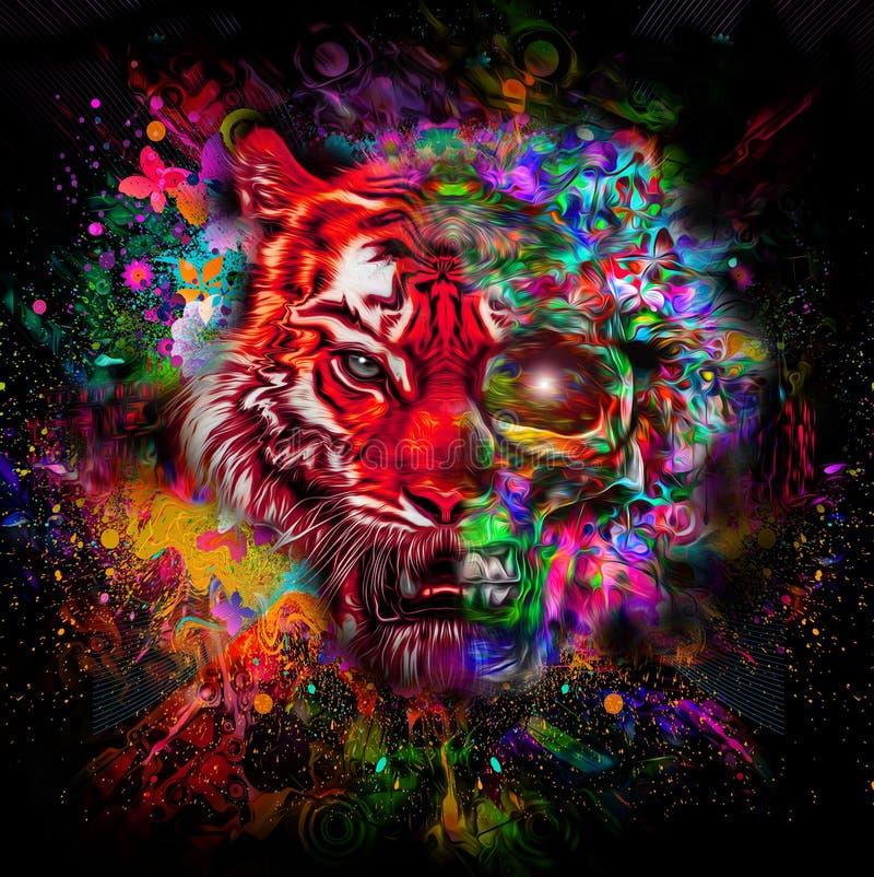 Kleurrijk tijgerhoofd met halve schedel stock illustratie