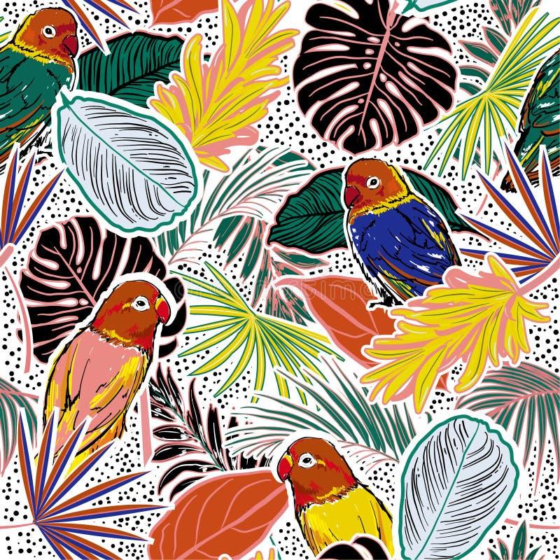 Kleurrijk Tropisch bos met bladeren, papegaaien, palmbladen, stippen, vogels en bloemen naadloos patroon stock illustratie