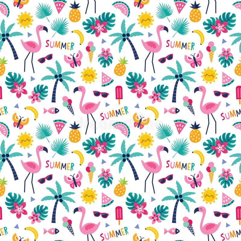 Kleurrijk tropisch patroon met de palmen van de flamingoananas royalty-vrije illustratie