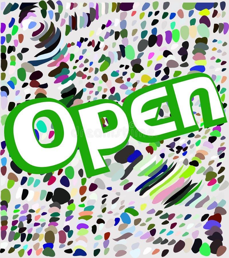 Kleurrijk uithangbord met open woord stock illustratie