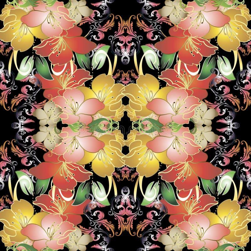 Kleurrijk uitstekend bloemen vector naadloos patroon royalty-vrije illustratie