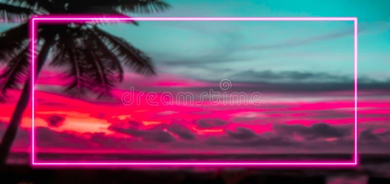 Kleurrijk vakantie en van het de jaren '80concept teken met roze neonlichtenkader royalty-vrije illustratie