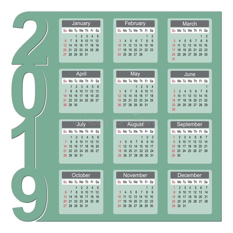 Kleurrijk van de het Jaarontwerper van 2019 de Kalender Vectorontwerp vector illustratie