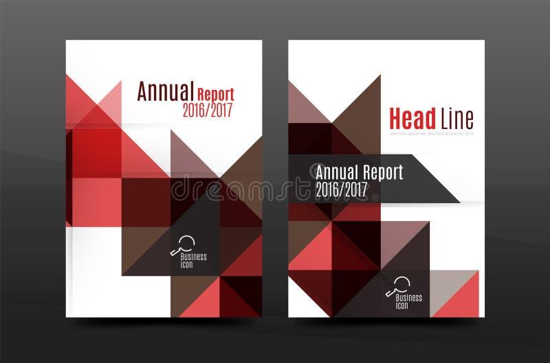 Kleurrijk van de het jaarverslaga4 dekking van het meetkundeontwerp van het de brochuremalplaatje de lay-out, het tijdschrift, de stock illustratie