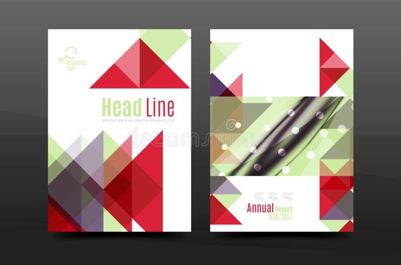 Kleurrijk van de het jaarverslaga4 dekking van het meetkundeontwerp van het de brochuremalplaatje de lay-out, het tijdschrift, de vector illustratie