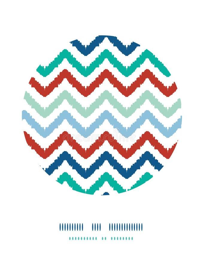 Kleurrijk van de het kadercirkel van de ikatchevron het decorpatroon vector illustratie