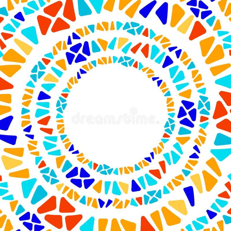 Kleurrijk van het de vormmozaïek van de gebrandschilderd glasdriehoek geometrisch de cirkelkader, vector vector illustratie
