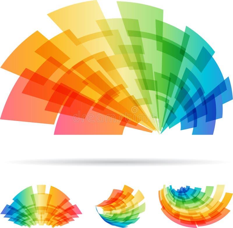 Kleurrijk vastgesteld abstract die element op witte achtergrond wordt geïsoleerd stock illustratie