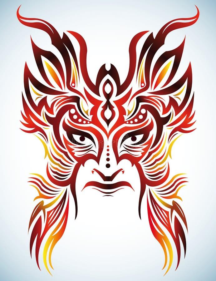 Kleurrijk Vectormasker - stammen - tatoegering royalty-vrije illustratie