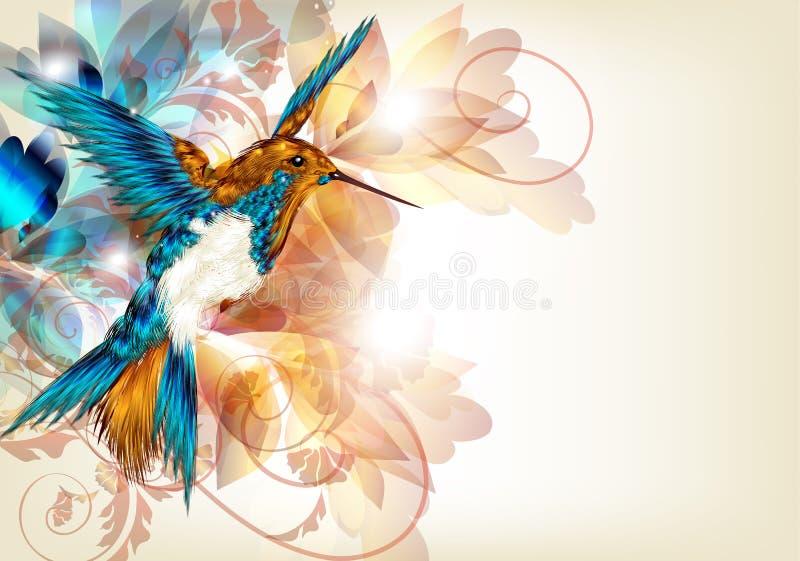 Kleurrijk vectorontwerp met realistische kolibrie en bloemeno royalty-vrije illustratie