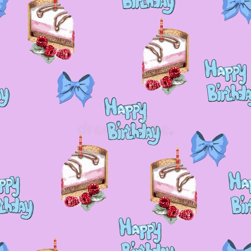 Kleurrijk verjaardags roze patroon met cakes en bogen royalty-vrije illustratie