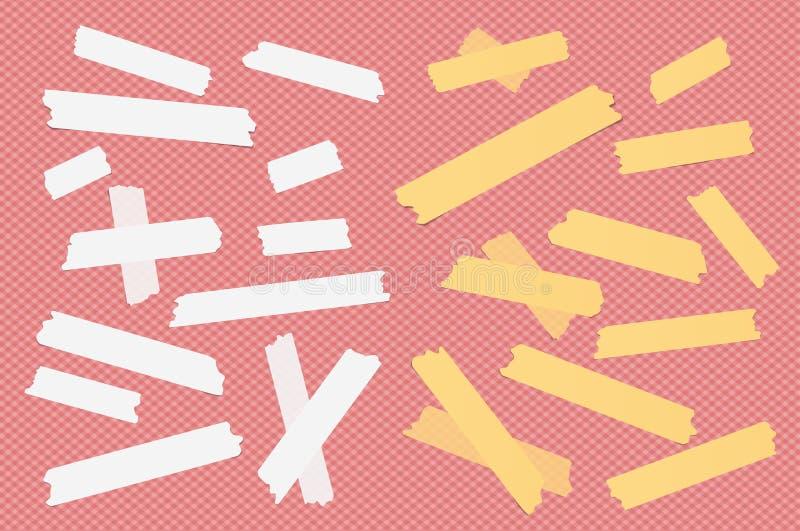 Kleurrijk verschillend grootte kleverig document, kleefstof, afplakband vector illustratie