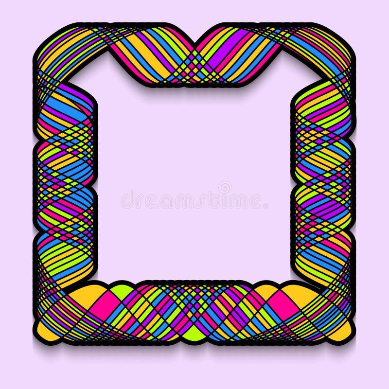Kleurrijk vierkant kader in een ingewikkelde stijl Malplaatje van Webbanner, verkoop of korting, de vlieger van de clubpartij, gr stock illustratie
