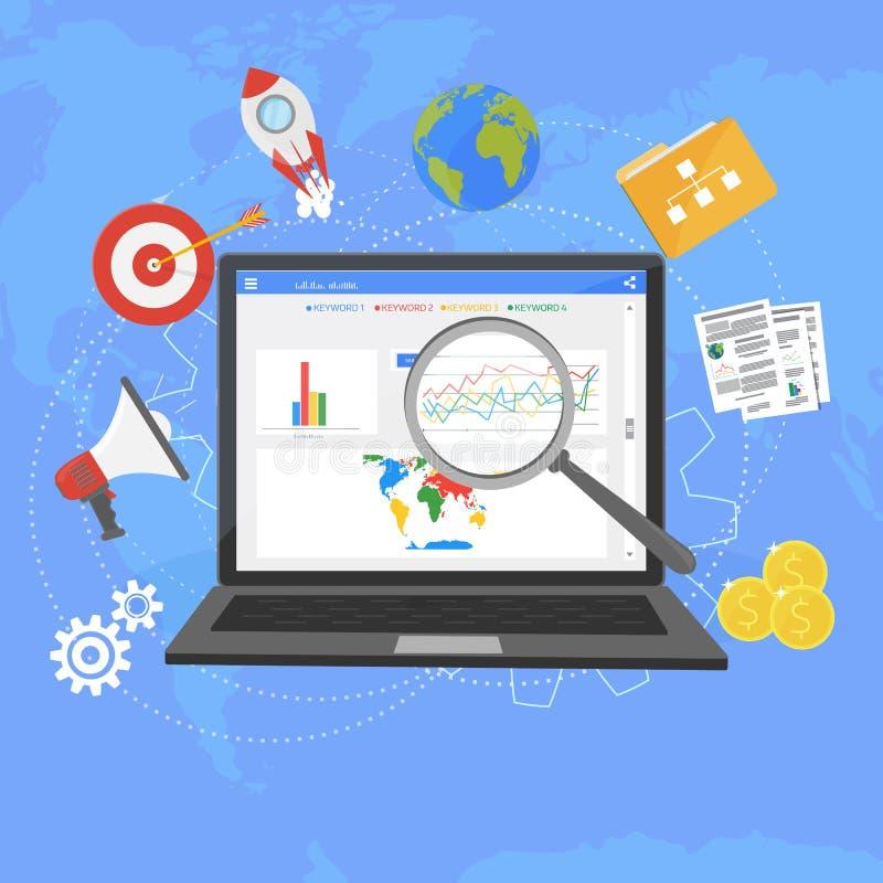 Kleurrijk vlak analyticsontwerp van het illustratieweb, SEO-optimizati royalty-vrije illustratie