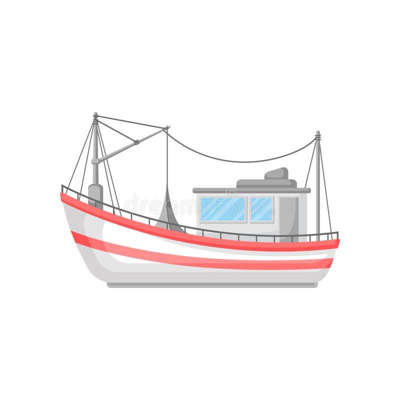 Kleurrijk vlak vectorontwerp van vissersboot met netto sleepnet en kabels Commercieel marien schip stock illustratie