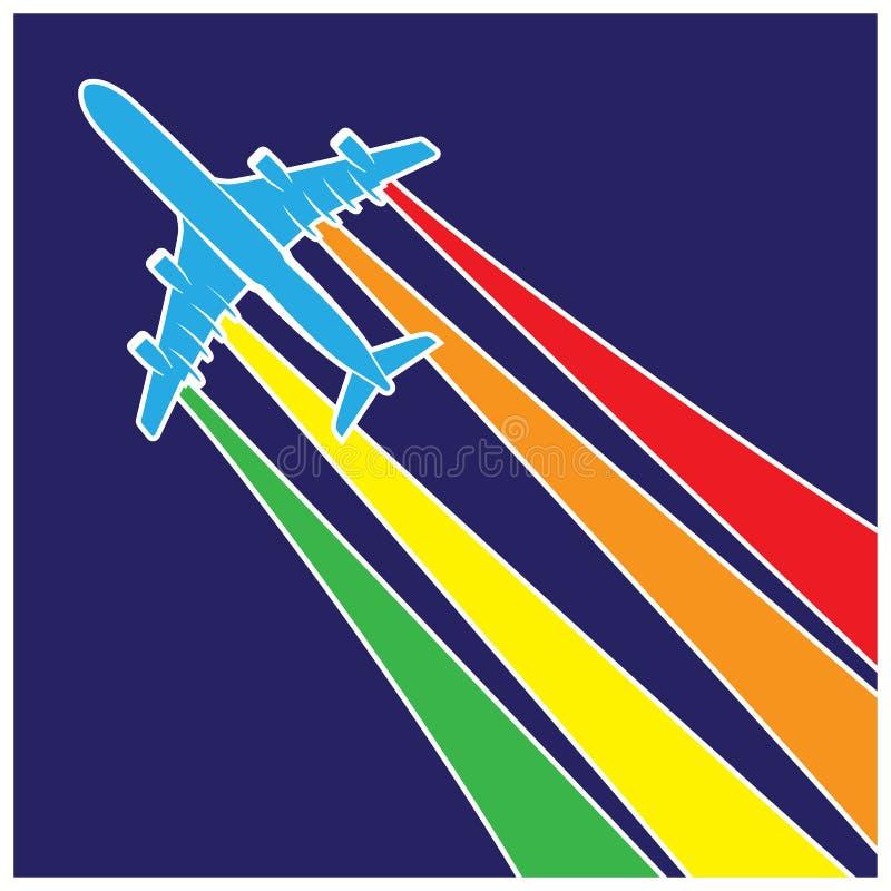 Kleurrijk vliegtuigsymbool stock illustratie