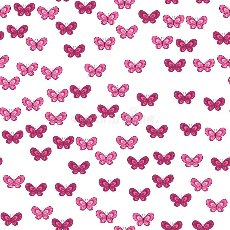 Kleurrijk vlinder naadloos patroon op witte achtergrond Document drukontwerp Abstracte retro vectorillustratie In textiel, vector illustratie