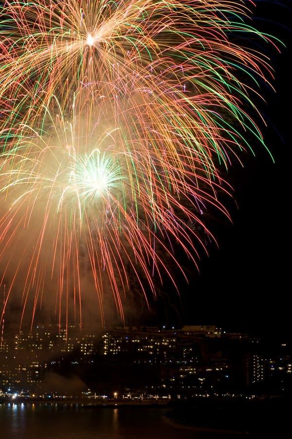 Kleurrijk vuurwerk stock foto