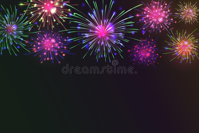 Kleurrijk vuurwerk royalty-vrije illustratie