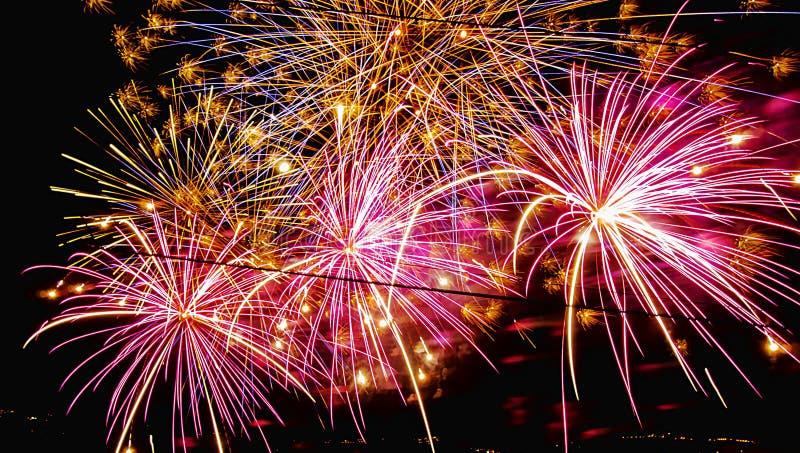 Kleurrijk vuurwerk bij nacht royalty-vrije stock afbeeldingen