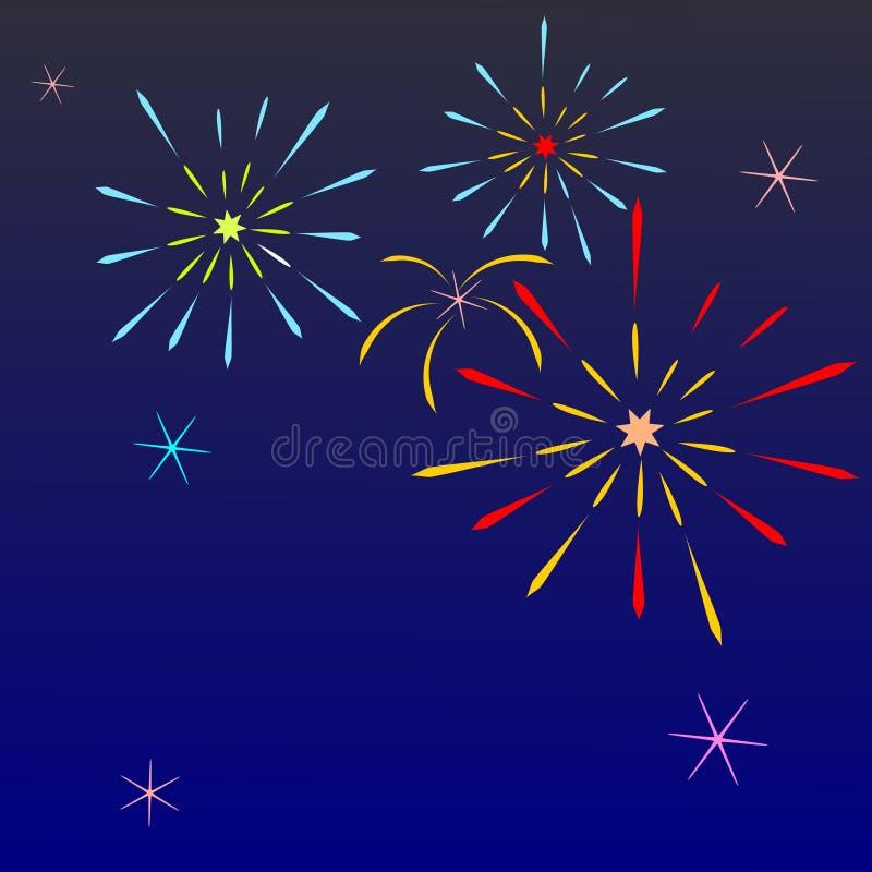 kleurrijk vuurwerk op blauwe hemel met open plek royalty-vrije illustratie