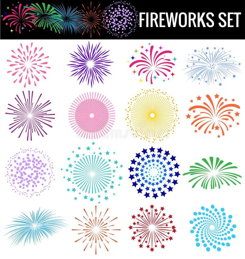 Kleurrijk Vuurwerk op witte achtergrond voor partijcerebation royalty-vrije illustratie