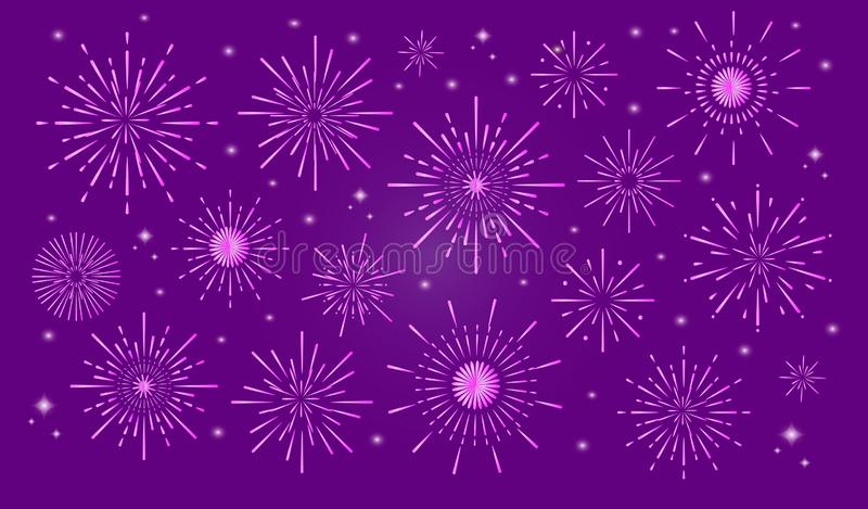 Kleurrijk in vuurwerk in stad stock illustratie