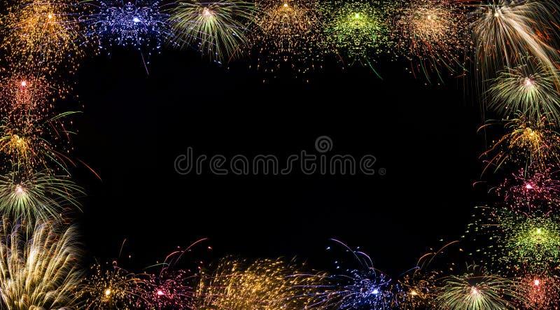 Kleurrijk vuurwerkframe royalty-vrije stock fotografie
