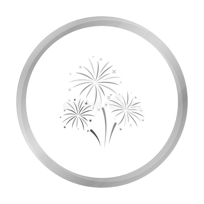 Kleurrijk vuurwerkpictogram in zwart-wit die stijl op witte achtergrond wordt geïsoleerd Van de het symboolvoorraad van de gebeur royalty-vrije illustratie