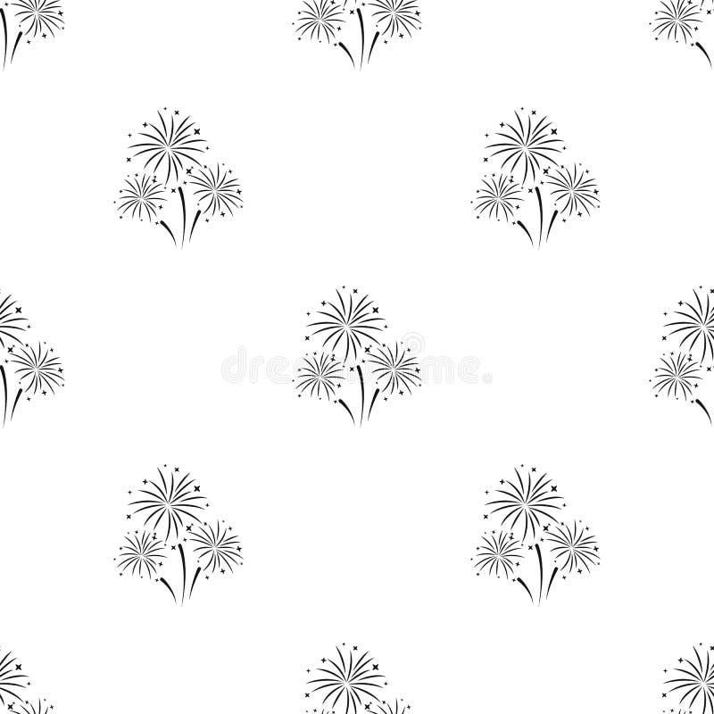 Kleurrijk vuurwerkpictogram in zwarte die stijl op witte achtergrond wordt geïsoleerd Het patroon van de gebeurtenisdienst royalty-vrije illustratie