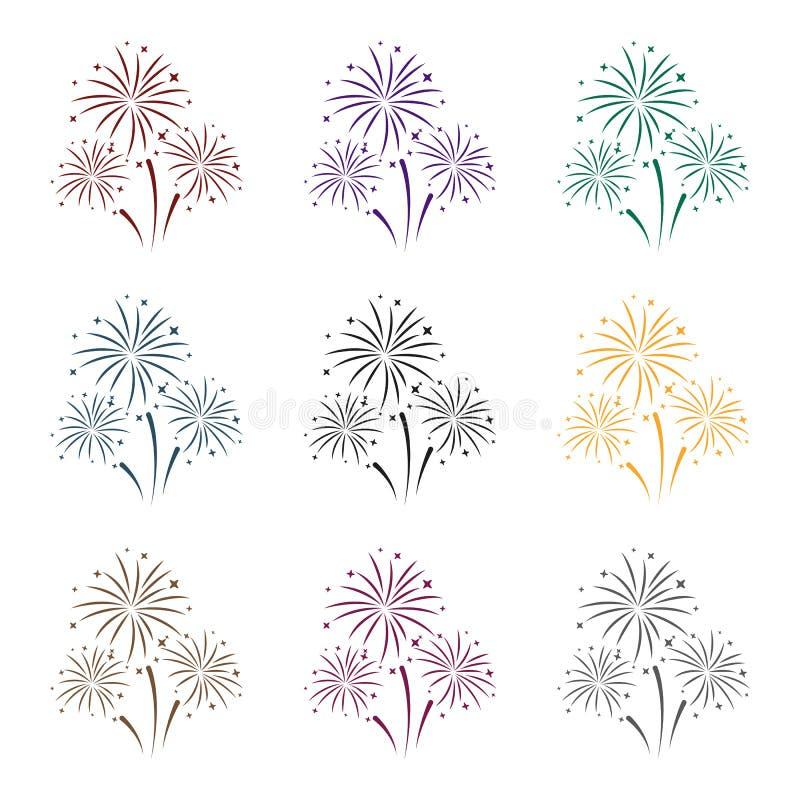 Kleurrijk vuurwerkpictogram in zwarte die stijl op witte achtergrond wordt geïsoleerd Van de het symboolvoorraad van de gebeurten vector illustratie