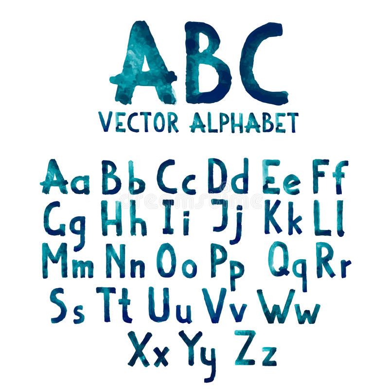 Kleurrijk waterverfaquarelle doopvonttype vector illustratie