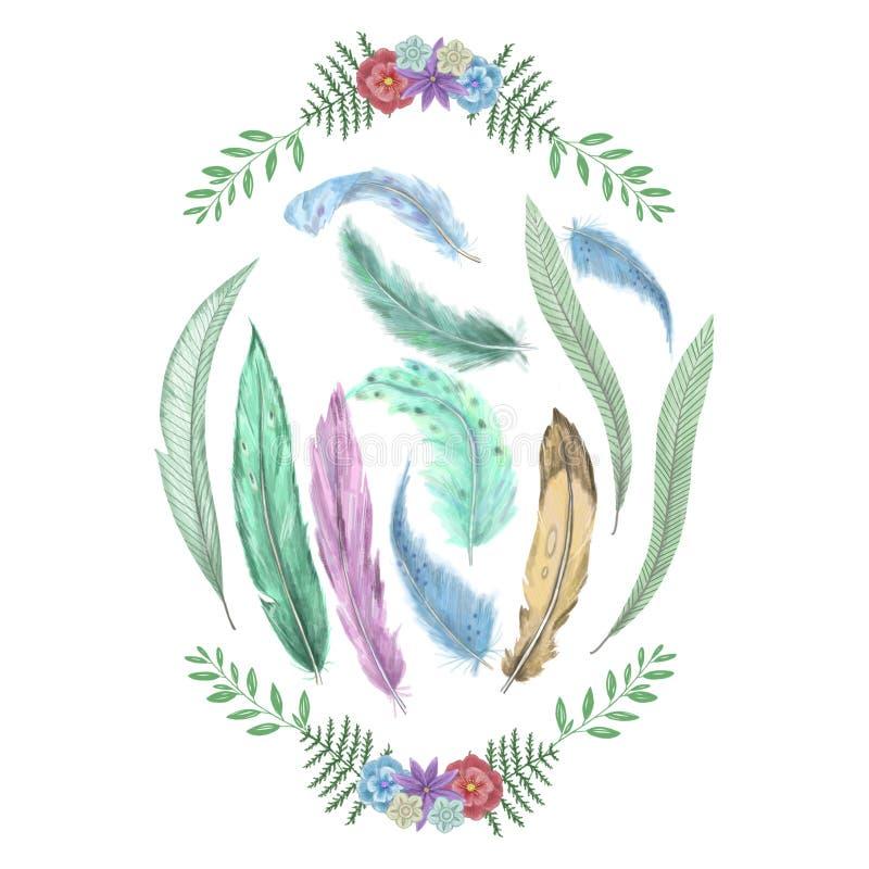 Kleurrijk waterverfkader met veren de digitale illustratie van de klemkunst Malplaatje met plaats voor uw tekst vector illustratie