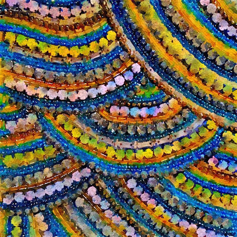 Kleurrijk waterverfmozaïek van gepareld patroon stock illustratie
