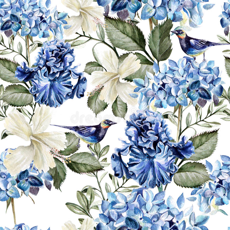 Kleurrijk waterverfpatroon met bloemenhydrangea hortensia, hibiscus, iris en vogel stock illustratie