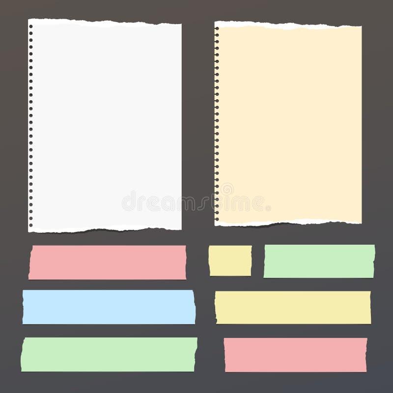 Kleurrijk, wit gescheurd notitieboekje, notadocument, kleverige kleefstof, band voor tekst of bericht op zwarte achtergrond Vecto vector illustratie