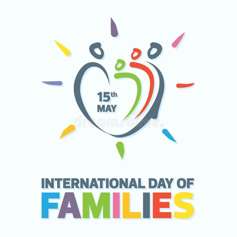 Kleurrijk woord van internationale dag van families met de abstracte liefde van de mensenvorm vector illustratie
