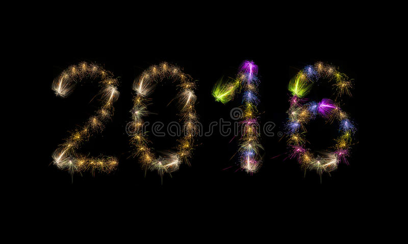 2016 kleurrijk Word van de Vuurwerktekst royalty-vrije stock foto