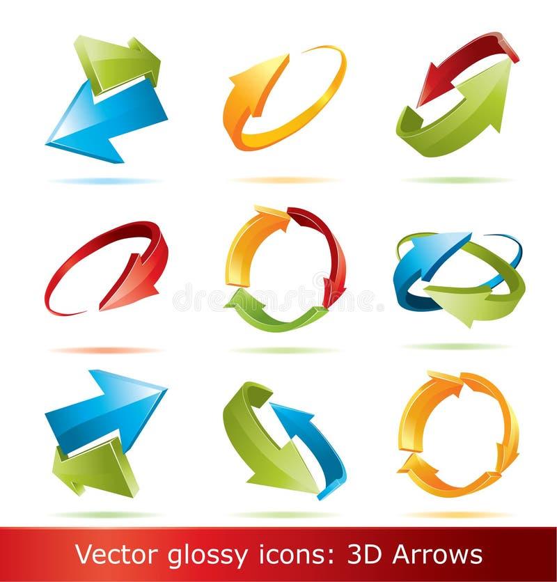 Kleurrijke 3d geplaatste pijlen royalty-vrije illustratie