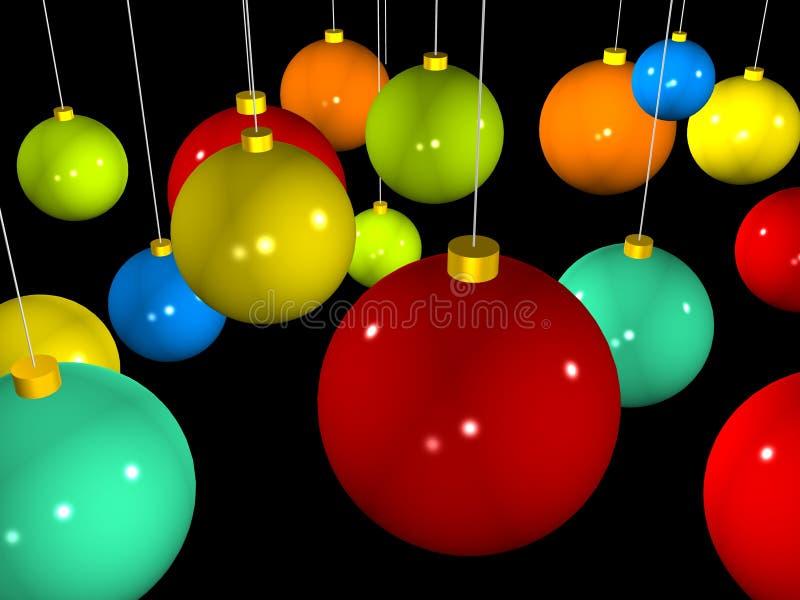 Kleurrijke 3d Kerstmisballen stock illustratie