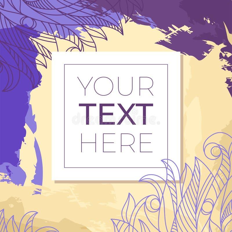 Kleurrijke abstracte achtergrond met exemplaarruimte in vierkant kader Grungeachtergrond met bloemenkrabbel met plaats voor uw te royalty-vrije illustratie