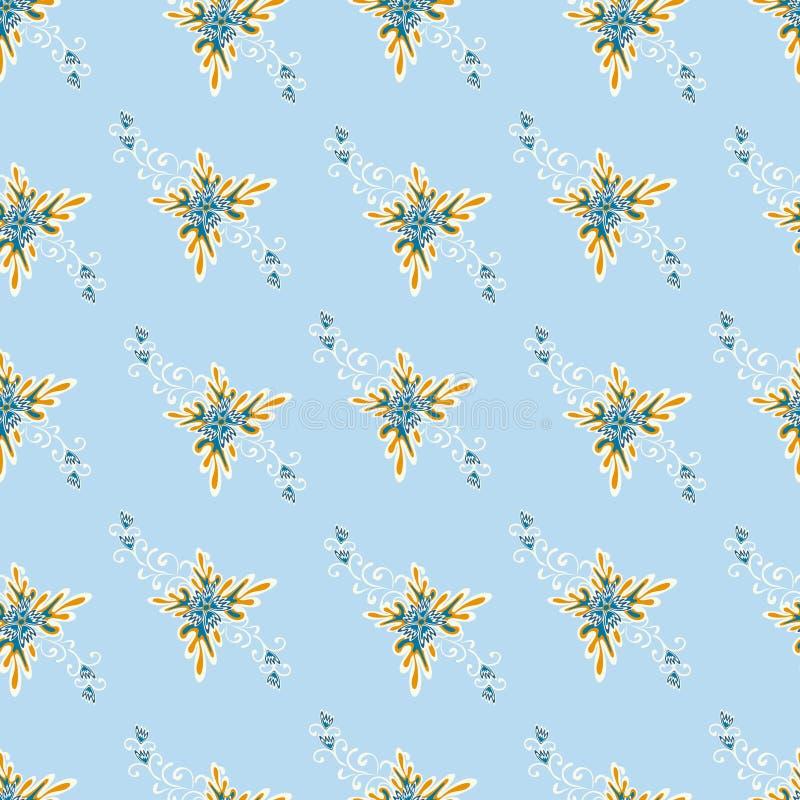 Kleurrijke abstracte bloemen op een witte achtergrond naadloze patroon vectorillustratie royalty-vrije illustratie