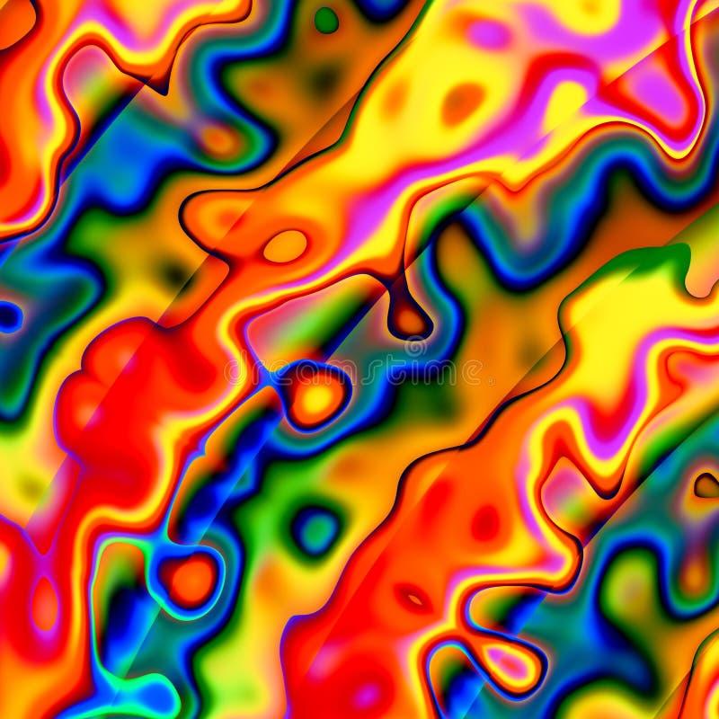 Kleurrijke Abstracte Chaotische Achtergrond Rood Blauw Geel Creatief Art Illustration Uniek ontwerp Onregelmatige Grunge-Vormen a stock illustratie